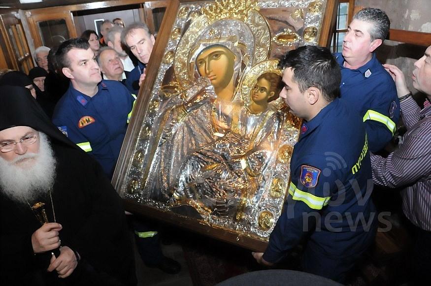 Η Εικόνα της Υπεραγίας της Παναγίας Παραμυθίας στην Ιερά Μονή Ρουσάνου